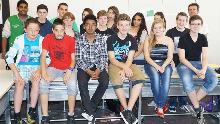 Die Klasse 2A der Realschule Langmatt mit Lehrer Christoph Urech.