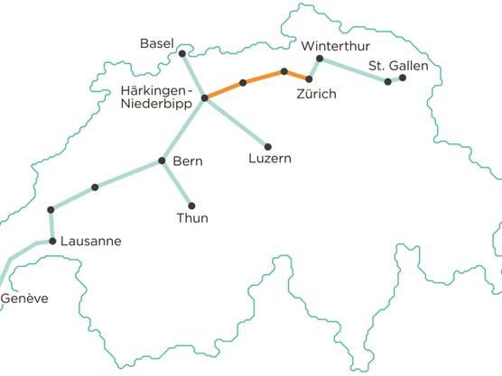 So sieht die geplante Streckenführung für das unterirdische Gütertransportsystem «Cargo sous terrain» aus.