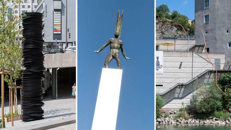 Ob auf dem Schulhausplatz, über dem Bahnhofplatz oder über der Limmat: Kunst in Baden gibt zu reden.
