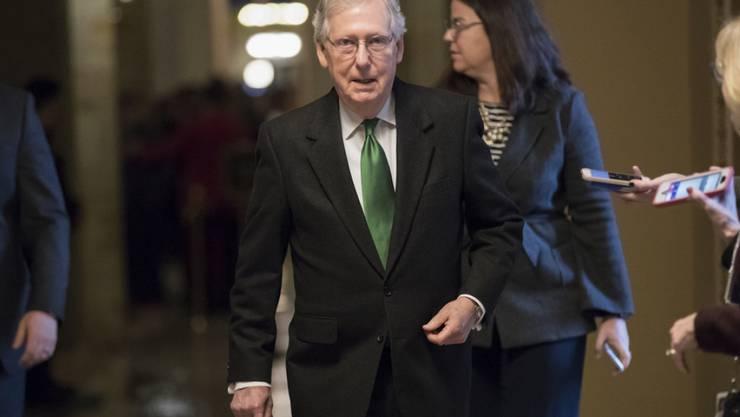Sprach von ausdauernden Verhandlungen von Kongress und Präsidialamt, die zum Haushaltsgesetz geführt hätten: der republikanische Mehrheitsführer im Senat, Mitch McConnell.