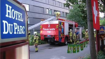 Einsatzübung der Feuerwehr Baden beim Hotel du Parc