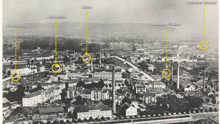 Ein buntes, fast ordnungsfreies Gemisch von Wohnen und Industrie: Das Klybeck-Quartier damals.Bild: Walter Mittelholzer