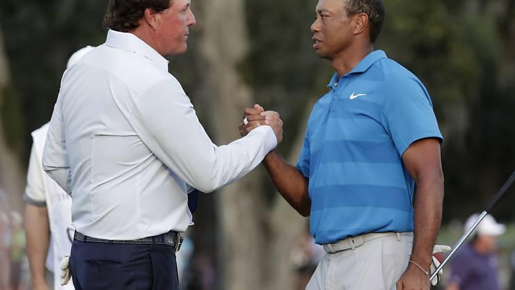 Phil Mickelson (links) und Tiger Woods duellieren sich Ende November in Las Vegas um eine Siegesprämie von 9 Millionen Dollar