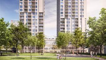 In den Hochhäusern sind keine Luxuswohnungen, aber Wohnungen für gut verdienende Menschen geplant. zvg/Visualisierung