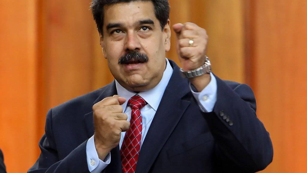 Deutschland, Frankreich und Spanien wollen den venezolanischen Interimspräsidenten Juan Guaidó anerkennen, wenn Staatschef Nicolás Maduro (im Bild) nicht binnen acht Tagen Neuwahlen ansetzt. (Archivbild)