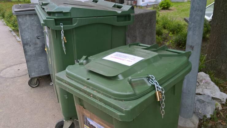 Kurzum abgeschlossen: Erzieherische Massnahme einer Hausverwaltung in Grenchen gegen das Littering in Grünabfall-Containern.