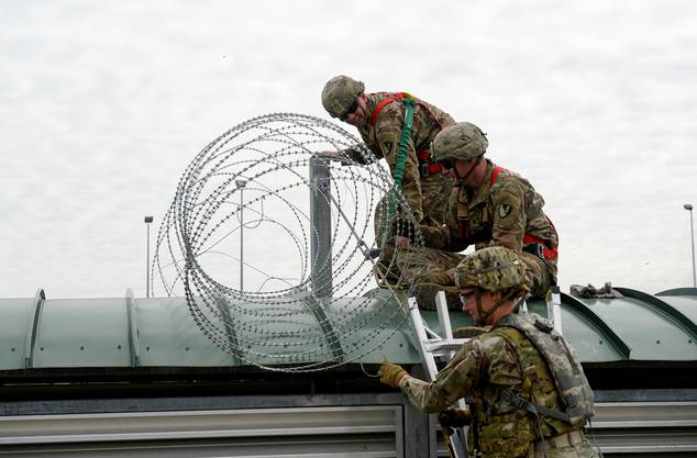 Vorbereitungen der Armee an der US-Grenze.