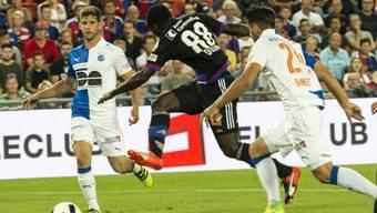 Der Ivorer Seydou Doumbia schoss zwei Treffer zum siebten Sieg im siebten Spiel für den FC Basel