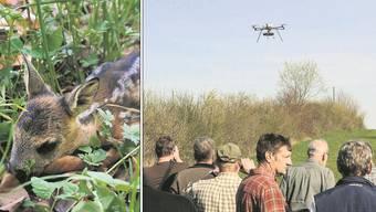 Bauern und Jäger an der Demonstration des Modellhelikopters, mit dem sich Wiesen nach versteckten Rehkitzen absuchen lassen