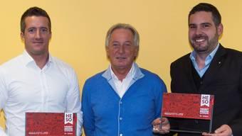 Sie freuen sich über den Award (v. l.): Urs Unterlerchner (OK-Präsident HESO), Fausto Grassi (APG), Christian Fluri (Mitinhaber c&h konzepte werbeagentur ag).