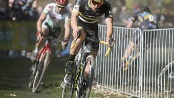 Schweizer Meister Timon Rüegg (vorne) beim Weltcuprennen im letzten Jahr in Bern