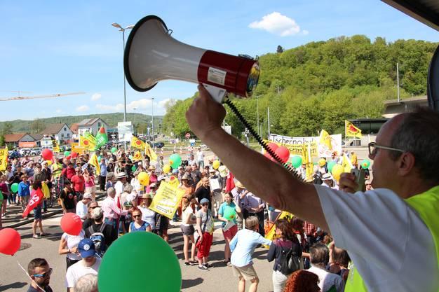 Impressionen von der Anti-Beznau-Demonstration bei der Grenzbrücke Waldshut-Koblenz.