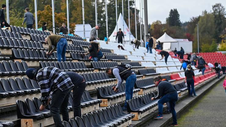 Bei der Durchführung von Fussballspielen im Brügglifeld können 3400 Sitzplätze belegt werden.