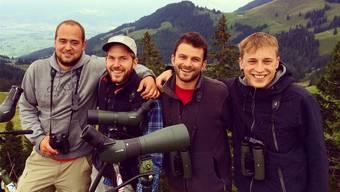 Das Crex Crex Team am letzten Birdrace (v.l.): Patrik Wyss, Peter Jäggi, Lucas Lombardo und Lukas Leuenberger. ZVG
