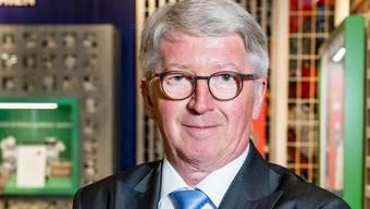 Jean-Pierre Balbiani anlässlich einer Limeco-Pressekonferenz in der Umweltarena Spreitenbach.