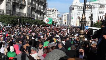 Demonstranten in Algier lehnen die Präsidentenwahl ab. Sie werfen den Kandidaten Nähe zu den alten Eliten Algeriens vor. Daher wird mit einer äusserst geringen Wahlbeteiligung gerechnet. (Bild vom 11. Dezember)