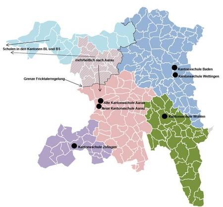 Einzugsgebiete der Aargauer Mittelschulen