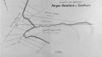 Der Originalplan über die Aufteilung des Niemandslands bei Kienberg stammt aus dem Jahr 1931 und belegt die kuriose Grenzgeschichte von damals. bz