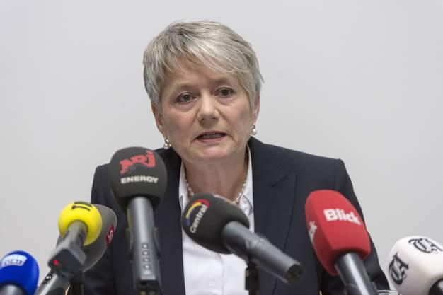 Zürcher Justizdirektorin Jacqueline Fehr an der Medienkonferenz zum Tötungsdelikt Seefeld.