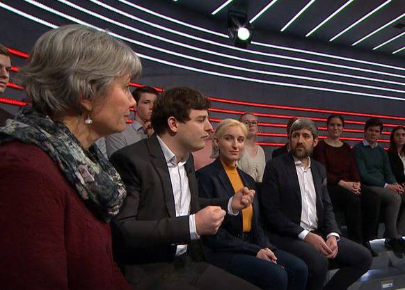 Lisa Leisi (EDU), Benjamin Fischer (JSVP), Anna Rosenwaser (Lesbenorganisation), und Philipp Kutter (CVP) (Bild: Screenshot SRF)