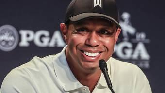 Kein Wunder nach dem Triumph am US Masters: Tiger Woods gibt gutgelaunt Auskunft