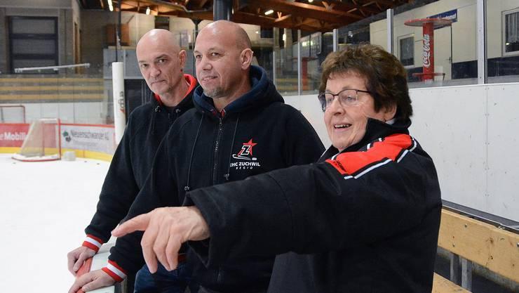 Vizepräsidentin Brigitte Ulrich kann auch auf die volle Unterstützung von Sportchef Marc Pfister (links) und Headcoach Bruno Hebeisen zählen.