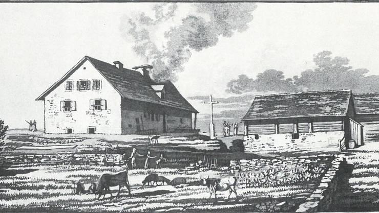 Ansicht des ersten Sennhauses von 1755 und der Ställe von Süden. Aquatinta von 1817 von Heinrich Keller.