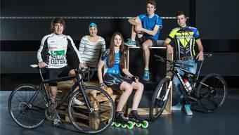 Das Aargauer Gigathlon-Topteam mit (von links) Michael Kyburz, Silvana Huber, Ramona Härdi, Samuel Keller und Fabian Paumann.