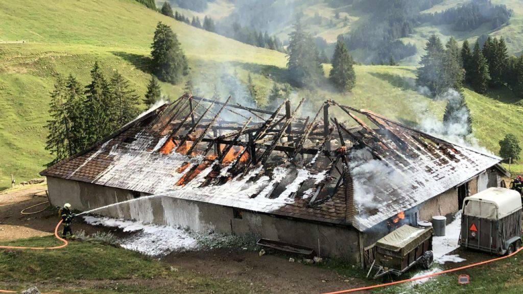 Beim Brand dieser Alphütte in Charmey FR sind zwei Menschen verletzt worden. Fünf Rinder kamen in den Flammen um.