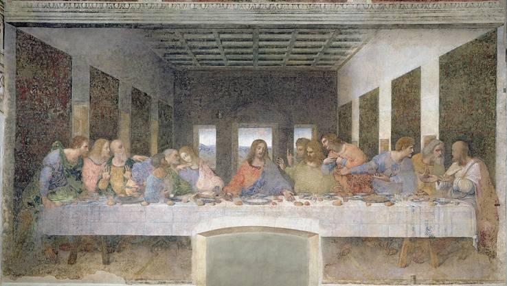 Der jüdische Sederabend ist das Vorbild für das christliche Abendmahl – Hostien sind ungesäuerte Brote, am Pessachfest symbolisieren die drei Brote die drei Urväter Abraham, Isaak und Jakob. (Leonardo da Vinci, Das letzte Abendmahl, 1495-1497, Fresko)