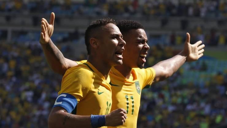 Zwei Doppel-Torschützen: Neymar (li.) und Gabriel Jesus erzielten im Halbfinal gegen Honduras jeweils zwei Treffer zum 6:0-Sieg