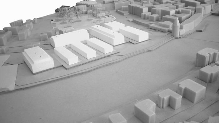Acht Baukörper umfasst die geplante Überbauung (weiss) auf dem Gelände der früheren Papierfabrik vor der Altstadt in der Nähe der Reuss