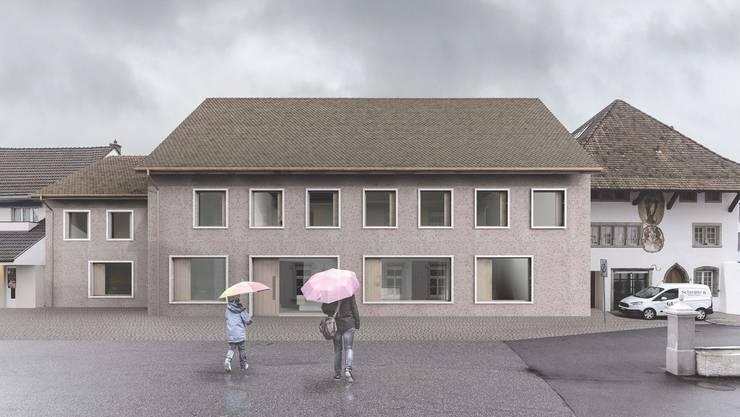 Mit seiner Klarheit und Prägnanz soll das neue Gebäude den Dorfplatz aufwerten und beruhigen.