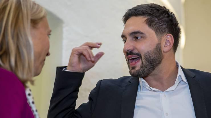Cedric Wermuth, SP Nationalrat, im Wahlzentrum des Kanton Aargau am Sonntag, 20. Oktober 2019, in Aarau. (KEYSTONE/Patrick B. Kraemer)
