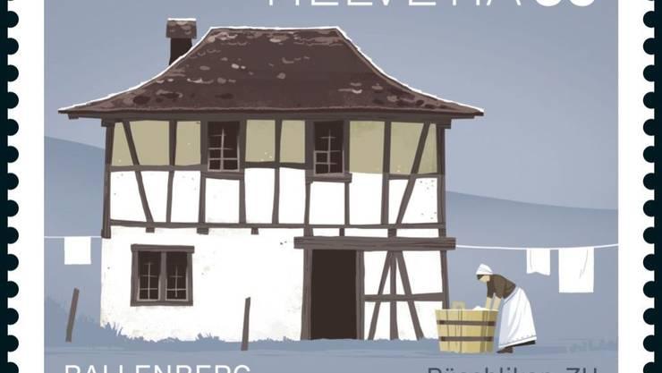 Eine der Sonderbriefmarken, die zum 50-jährigen Bestehen der Stiftung Ballenberg herausgegeben werden, zeigt das Waschhaus aus Rüschlikon um die Zeit 1750 bis 1800.