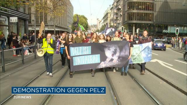 Pelzdemonstration in der Innenstadt