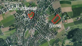 Die beiden möglichen Standorte für das Alterszentrum in Würenlos