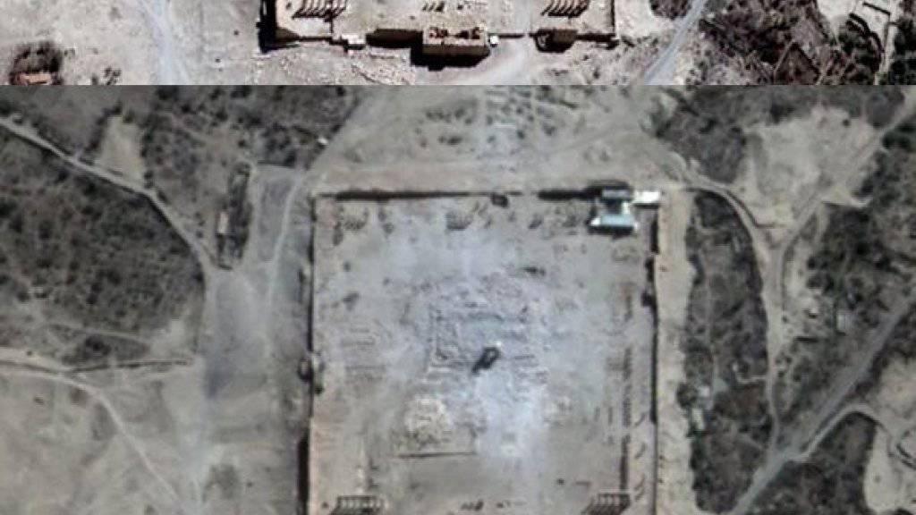 Eine UNO-Organisation veröffentlichte am Montag Satelliten-Bilder der Antikenstadt Palmyra in Syrien. Sie bestätigen: Der weltberühmte Baal steht nicht mehr.