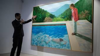 """War einem Käufer bei einer Auktion in New York über 90 Millionen Dollar wert: das Bild """"Porträt eines Künstlers (Pool mit zwei Figuren)"""" des britischen Malers David Hockney."""