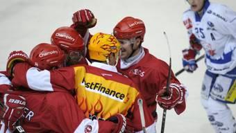 Lausannes Spieler feiern Heimsieg gegen die GCK Lions.