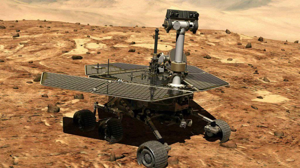 Allein und verlassen auf dem Mars: Der Rover «Oportunity» war seit 2004 auf dem Roten Planeten und wurde jetzt aufgegeben.