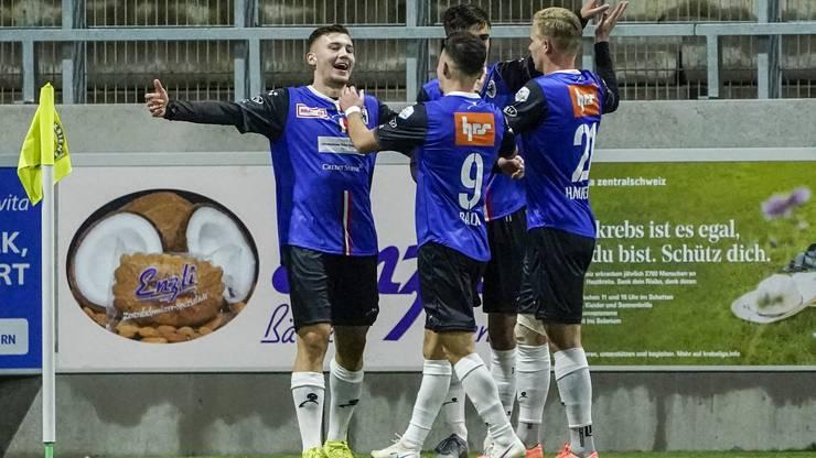 Filip Stojilkovic bejubelt seinen fünften Treffer im FCA-Dress.