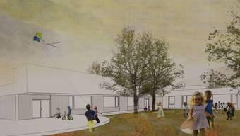 So stellen sich die Architekten den künftigen Kindergarten vor.
