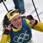Die Schwedin Hanna Öberg jubelt nach ihrem sensationellen Auftritt über 15 km