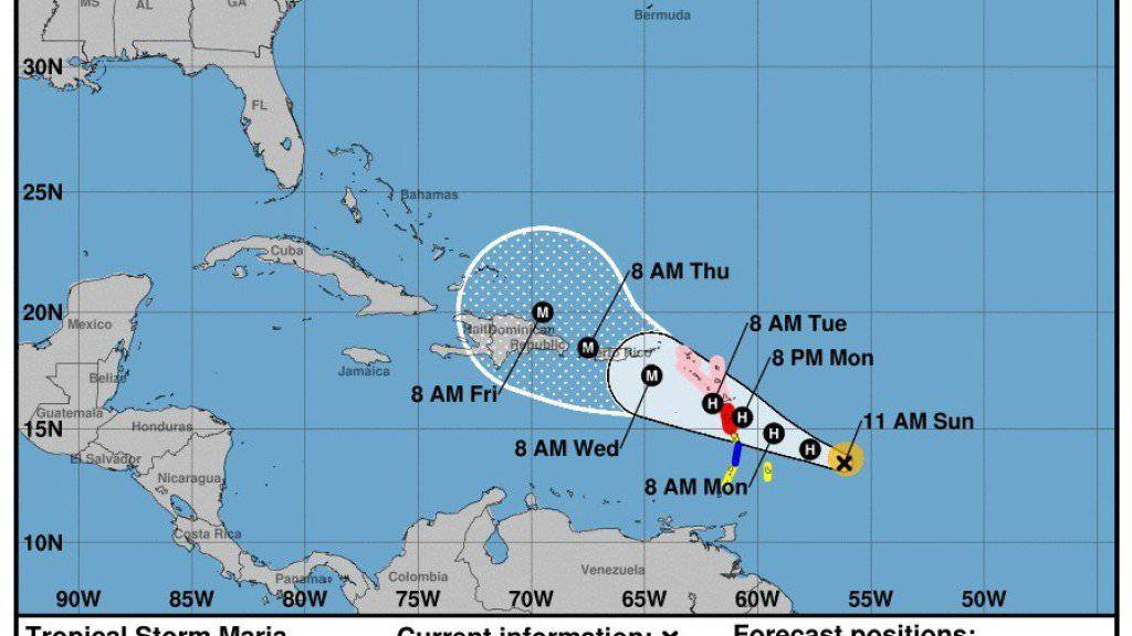 Nicht einmal zwei Wochen nach dem verheerenden Wirbelsturm «Irma» bedroht der Hurrikan «Maria» die Karibikinseln. Diesmal dürfte vor allem die Insel Guadeloupe betroffen sein. Für Montag wird mit Windgeschwindigkeiten von bis zu 200 Stundenkilometern gerechnet.