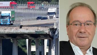 Bernhard Elsener ist ETH-Professor und Korrosionsexperte. Er wurde gebeten, Trägerteile der Brücke zu untersuchen, die bei dem Einsturz in die Tiefe fielen.