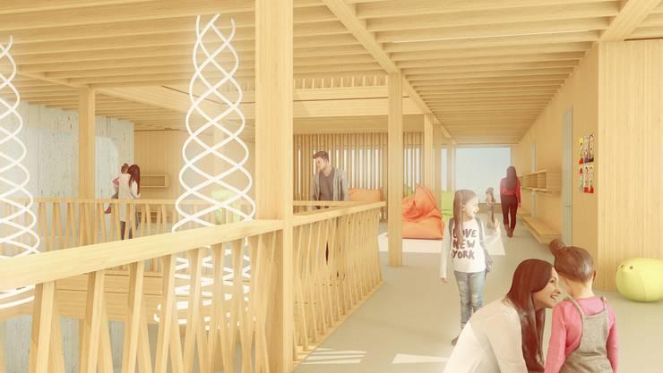 Siegerprojekt der Felber Widmer Schweizer Architekten einmal Hallenraum und einmal Südwestfassade