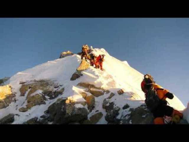 Bergsteiger am Hillary Step im Mai 2016