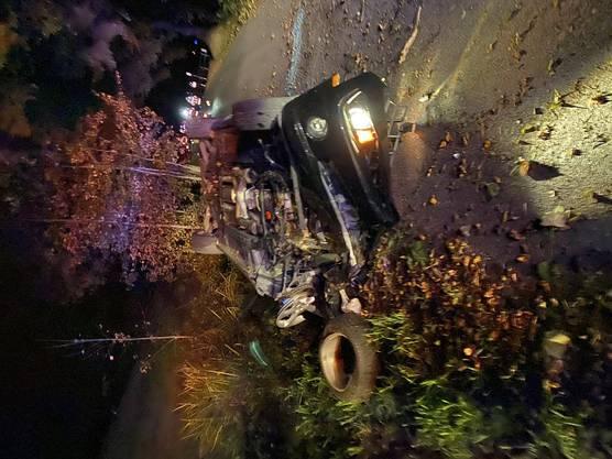 Ein Fahrzeug geriet ins Schleudern und rammte einen Baum.