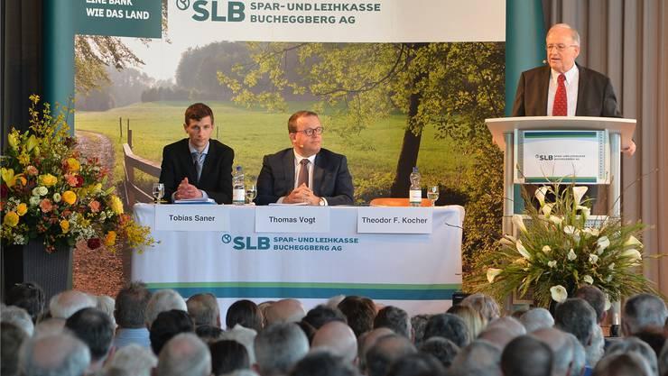 Von links: Kadermitglied Tobias Saner, Direktor Thomas Vogt und Verwaltungsratspräsident Theodor F. Kocher.